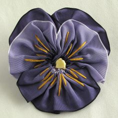 Sweet Purple Pansy Ribbon Pin  Handmade Flower ♡ by dorothydesigns