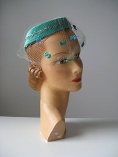 1950s hat / green 50s hat / Minty Bows