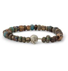 Luis Morais White Gold Skull and Bead Bracelet | MR PORTER