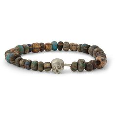 Luis Morais White Gold Skull and Bead Bracelet | MR PORTER