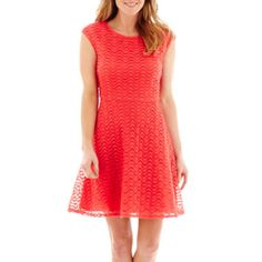 Liz Claiborne® Cap-Sleeve Crochet Lace Fit-and-Flare Dress  found at @JCPenney