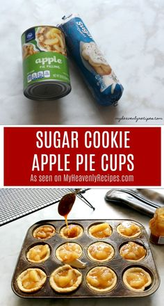 Not a baker? No worries! These Sugar Cookie Apple Pie Cups are SUPER simple and … Not a baker? No worries! These Sugar Cookie Apple Pie Cups are SUPER simple and make a great dessert recipe that the entire family can make together. Finger Desserts, Köstliche Desserts, Delicious Desserts, Dessert Recipes, Yummy Food, Fruit Recipes, Pillsbury Sugar Cookies, Sugar Cookie Dough, Cookies Et Biscuits