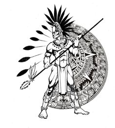 Aztec Tattoo Designs - I love the idea of this for a tattoo. Although I'd have more of a half mandala design and I'd also have a sexy native women instead of the male. Warrior Tattoo, Ancient Symbols, Warrior Tattoos, Tribal Art, Armor Tattoo, Geometric Tattoo Arm, Black And Grey Tattoos, Mayan Art, Aztec Tattoo Designs