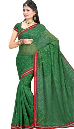 Get Latest Beautiful Latest Green Faux Chiffon #CasualSaree Online.  #Price INR-  1039 Link- http://alturl.com/d5sgn