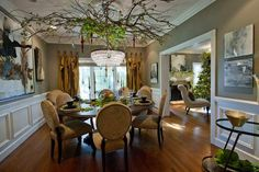 Christmas decorations in a formal dining room at the home of Neal and Heidi Cordeiro will be a centerpiece of this year's Sacred Heart Holiday Home Tour.