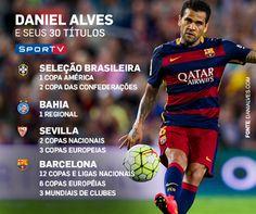 Conteúdo criado para as redes sociais do canal SporTV sobre o recorde de títulos do brasileiro Daniel Alves.