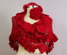 Red Shawl, Crochet Shawl, Bridal Wrap, Flower Shawl, Wedding Wrap, Bridal Shrug Bolero, Wedding Shawl, Cover Up, Boho, Gypsy, Hippie