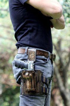 Twin Thigh Holster Cowboy Belt Lara Gun West Industrial Steampunk Raider Sci fi