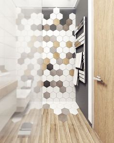 50 Unique Honeycomb Tile To Give Your Bathroom A New Look – Diy Badezimmer Bathroom Renos, Bathroom Interior, Modern Bathroom, Small Bathroom, Hexagon Tile Bathroom, Bathroom Canvas, Neutral Bathroom, Shower Bathroom, Hexagon Tiles