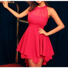 Sweet Slim Solid Color Sleeveless Irregular Hem Dress