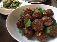 These little meatballs are full of heady spices and packed with flavor. These, some Tahini-Yogurt Spread, a bit of pita and dinner is served. Advocare Recipes, Paleo Recipes, Dinner Recipes, Cooking Recipes, Yummy Recipes, Meatball Bake, Meatball Recipes, Dinner Is Served, Appetizer Dips