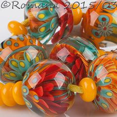 "Artisan Lampwork Beads by Romana - ""Multicolored"" #ArtisanLampworkBeads"