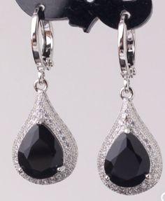 Fabulous Crystal Earrings 18k White Gold Plating Drop Earrings Pear Shape (Black) SALE $9.99