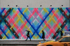 Maya Hayuk Paints Fluorescent Stripes For Her New Bowery Mural - New York