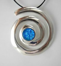 Bright Blue Spiral Pendant -  Wear THIS pendant when you want to be noticed!  A truly stunning pendant with an incredible focal point of bright blue dichroic glass!