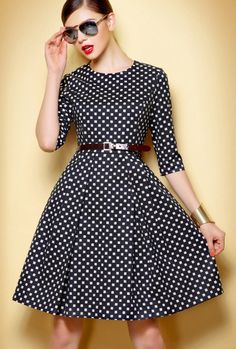 Black & White Half Sleeve Dress with full skirt | I like this fabric -- kind of a cross between polka dots & windowpane