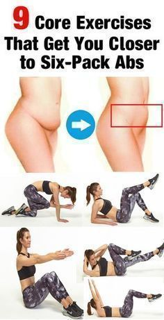 """9 Core Exercises That Get You Closer to Six-Pack Abs - Healthy Tips World Everybody wants a six-pack—which is great. But FYI, there are actually four key muscle groups you need to tone to get a taut tummy. """"For the best results, both aesthetically and fun diet workout burn calories"""