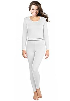 Womens 2pc Thermal Underwear Top  Bottom Fleece Lined Long Johns  by RockySmallWhite -- Want to know more, click on the image.