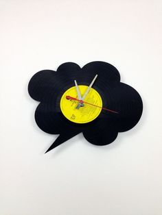 Clock RECORD  vinyl   ROUND BUBBLE   by SNORO on Etsy