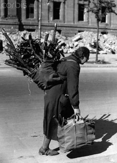 A woman staggers under her load of firewood along the Unter den Linden, a street in Berlin, Germany, in September 1945. Heavily affected by World War II, the people of Berlin have no coal to heat their homes in the winter of 1945. They are allowed to go to Grunewald Woods, which is in the U.S. sector near Zellendorf, to collect wood. Stock Photo - Corbis