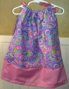 Purple and Pink Paisley Pillowcase Dress Size 4T by DarlingDays, $15.00