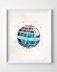 Star Wars Print, Death Star Watercolor, Kids Room Decor, Wall Poster, Office Wall Decor, Bedroom Art, Gifts, Arty Print, from Inkist Prints.