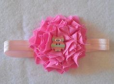 Hoot, Hoot! Shabby Chic Baby Headband Bright Pink Handmade Flower with Owl Center! Photo prop-Baby gift-girl-clip-barrette by NonisBowtique on Etsy