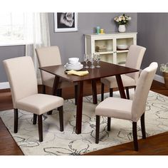 Simple Living 5pc Laurel Dining Set (5pc Laurel Dining Set, Beige Chairs), Brown