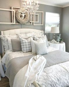 35 Relaxing Farmhouse Bedroom Design Ideas To Try In Your Home - Decorating your bedroom with white bedroom furniture has so many benefits that I don't see why anyone wouldn't, at the least consider, using this furn. Cozy Bedroom, Kids Bedroom, Bedroom Curtains, Bedroom Bed, Bedroom Wallpaper, Master Bedrooms, Bedroom Small, Bedroom 2018, Girl Bedrooms