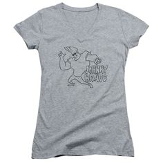 Johnny Bravo/Jb Line Art Junior V-Neck in Athletic Heather