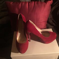 Red suede pumps with beautiful bling heel Beautiful shoes great condition. Perfect for a special occasion or a night on the town. Shoes Heels
