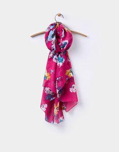 Wensley Ruby Pink Posy Scarf , Size One Size | Joules UK - pro mě