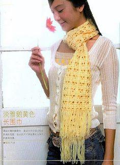 Fantasy Pretty Yellow Scarf with Dots free crochet graph pattern Crochet Scarves, Crochet Shawl, Crochet Clothes, Free Crochet, Knit Crochet, Crocheted Scarf, Crochet Diagram, Crochet Patterns, Scarf Patterns