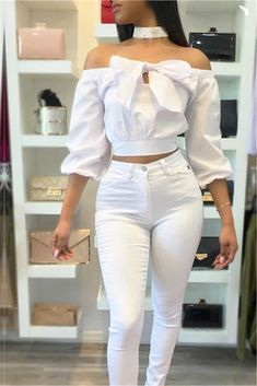 White Off Shoulder Bow Blouse White Iff the Shoulder Elasticated Blouse Top w/ Bow Front Detail White Fashion, Look Fashion, Fashion Design, Classy Outfits, Chic Outfits, Woman Outfits, Blouse Styles, Blouse Designs, Modest Fashion
