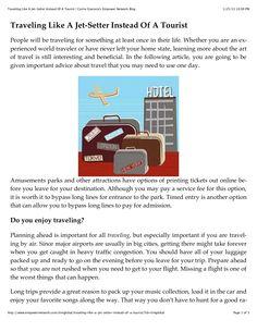 traveling-like-a-jet-setter-instead-of-a-tourist by Carrie Giaconia via Slideshare Document Sharing, World Traveler, Carrie, Jet, Traveling, Learning, Blog, Life, Viajes