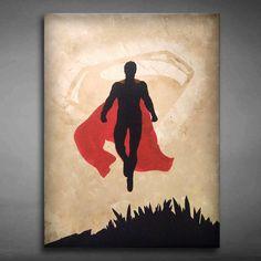 Original, Hand-Made, Canvas Wall Art, Superman Painting 18x24