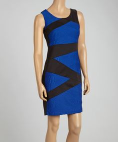 Loving this Connected Apparel Royal & Black Angular Geometric Shift Dress - Women on #zulily! #zulilyfinds