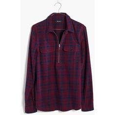 MADEWELL Flannel Zip-Front Popover Shirt in McKinney Plaid ($80) ❤ liked on Polyvore featuring tops, shirts, burmese blue, zip front top, purple shirt, madewell, blue top and blue plaid shirt