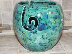 Yarn Bowl, triple thread, Teal with green, yellow and purple speckled glaze.  Measures 6 x 6. Great gift for the knitter. by GabiLuBoutique on Etsy