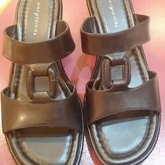 Black Sandals Leather upper, very comfy & stylish. Worn once. Easy Spirit Shoes Sandals