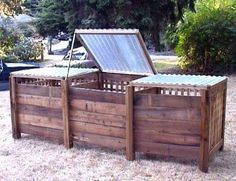 I like this three bin system, that way each one can be at a different stage (one with fresh cuttings/organic material, one ready to be used and one somewhere in between)--my dad described a system his grandpa had that was like this