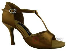 Natural Spin Signature Latin Shoes(Open Toe):  H1102B_TanES