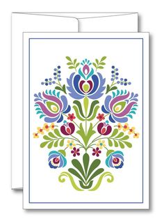 This is an image created in Adobe Illustrator and inspired by the beautiful folk art of Hungary. --Size: 5 x 7 folded card --Includes envelope --Blank inside --Comes in a protective plastic sleeve --Printed on Premium matte card stock Hungarian Embroidery, Folk Embroidery, Hungarian Tattoo, Floral Embroidery Patterns, Embroidery Designs, Hand Applique, Applique Quilts, Polish Folk Art, Folk Art Flowers