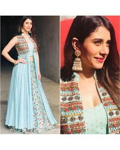 Bollywood fashion 307863324528542140 - sky muslin silk digital printed bollywood style lehenga with … Source by daphnig Indian Gowns Dresses, Indian Fashion Dresses, Dress Indian Style, Indian Designer Outfits, Pakistani Dresses, Designer Dresses, Diwali Dresses, Indian Fashion Trends, Ethnic Fashion