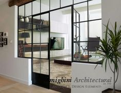 Custom Steel Double Door with Divided Lite Glass | Great Room Divider (w/ Clear Glass) or Closet Entry Door (w/ Frosted Glass).  Select your Size & Finish. | by AMIGHINI, Anaheim CA - Item #: CA784