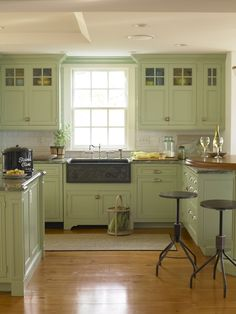 love this paint color for cupboards Country Living kitchen