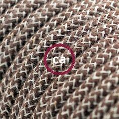 Lovely Elektrisches Kabel rund berzogen mit Baumwolle Farbe Rinde Zick Zack und nat rliches Leinen RD