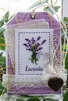 "Творчество в беспорядке / Art in mess: Весенний тэг ""Прованс"" / Spring tag ""Provence"" Lavender Crafts, Lavender Sachets, Cross Stitch Freebies, Counted Cross Stitch Patterns, Friendship Bracelet Patterns, Cross Stitching, Provence, Embroidery Patterns, Le Point"