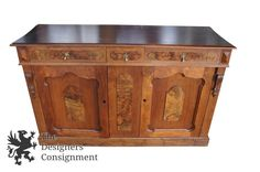Antique Walnut Burlwood English Carved Sideboard Cabinet Converted Wet Dry Bar | The Designers Consignment