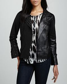 Studded Leather Motorcycle Jacket & Printed Long-Sleeve Henley Top  by Graham & Spencer at Neiman Marcus.
